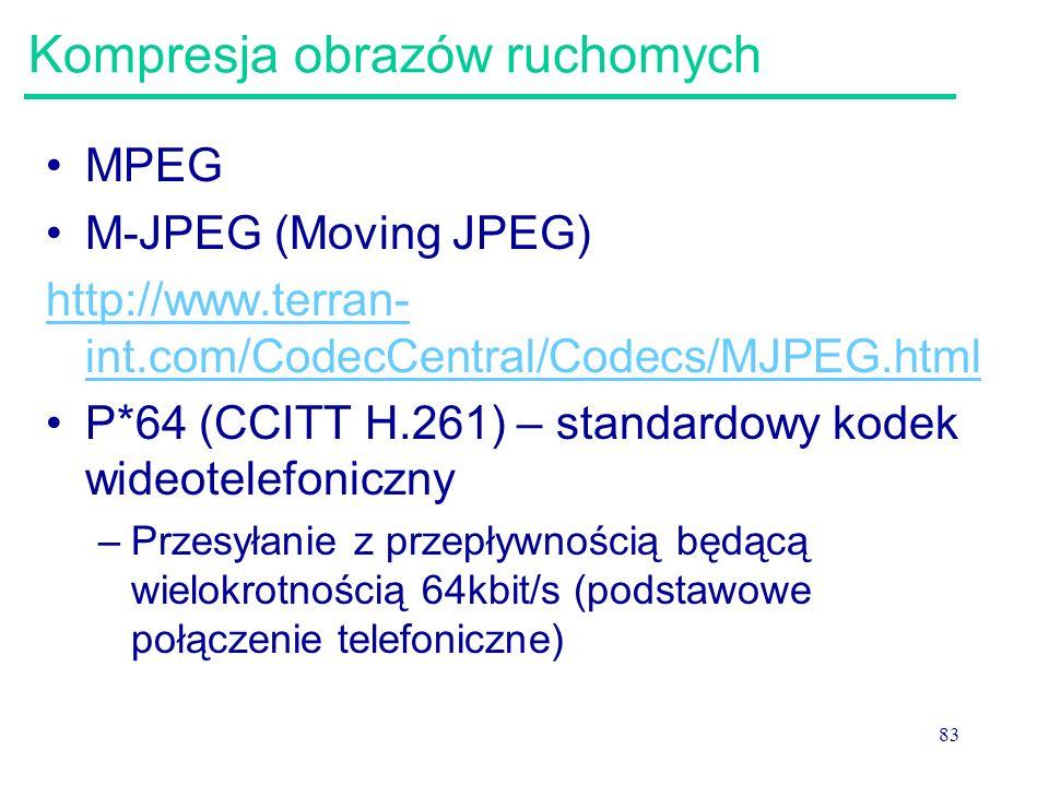 83 Kompresja obrazów ruchomych MPEG M-JPEG (Moving JPEG) http://www.terran- int.com/CodecCentral/Codecs/MJPEG.html P*64 (CCITT H.261) – standardowy ko