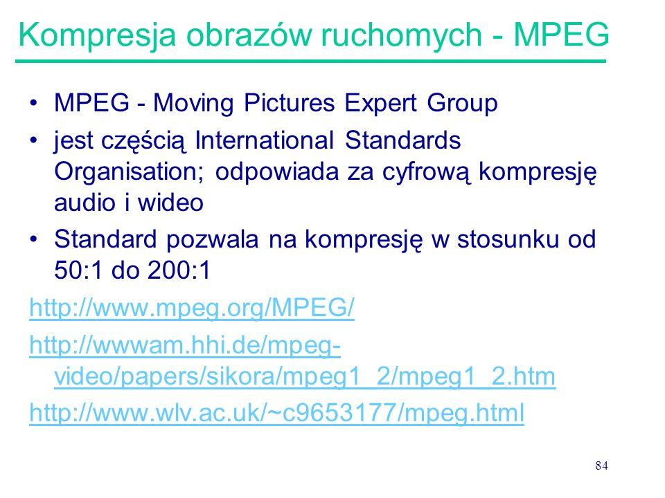 84 Kompresja obrazów ruchomych - MPEG MPEG - Moving Pictures Expert Group jest częścią International Standards Organisation; odpowiada za cyfrową komp