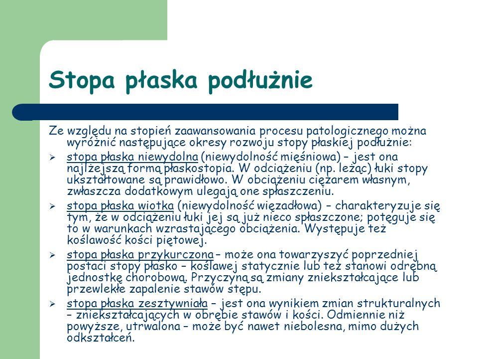 Stopa płaska podłużnie Ze względu na stopień zaawansowania procesu patologicznego można wyróżnić następujące okresy rozwoju stopy płaskiej podłużnie: