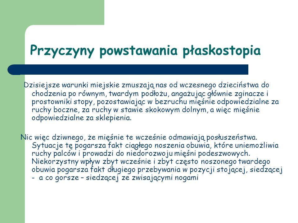 Leczenie płaskostopia W przypadku wystąpienia płaskostopia leczenie opiera się na leczeniu zachowawczym.