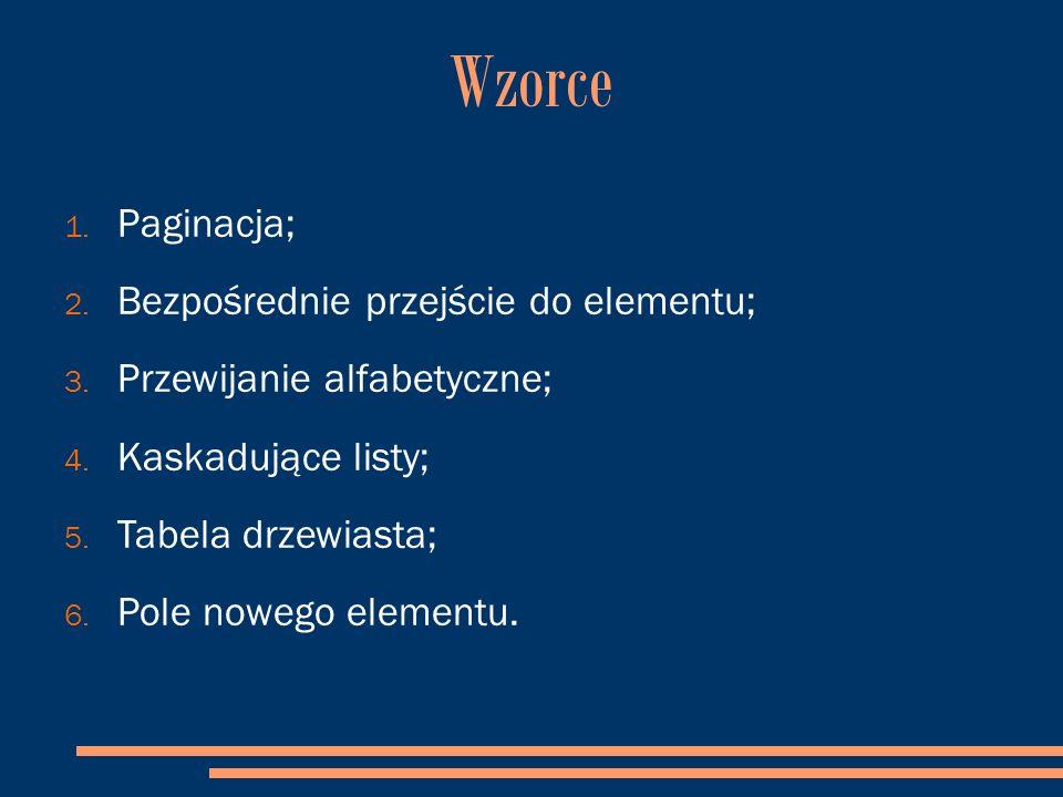 Wzorce 1. Paginacja; 2. Bezpośrednie przejście do elementu; 3.