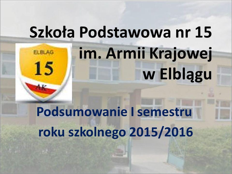 Szkoła Podstawowa nr 15 im. Armii Krajowej w Elblągu Podsumowanie I semestru roku szkolnego 2015/2016