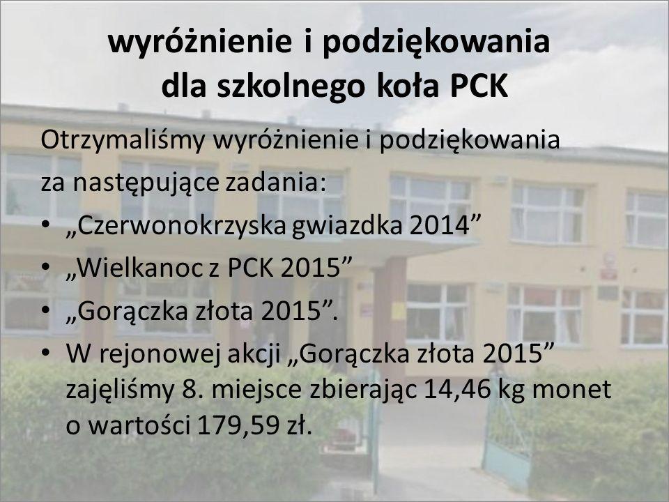 """wyróżnienie i podziękowania dla szkolnego koła PCK Otrzymaliśmy wyróżnienie i podziękowania za następujące zadania: """"Czerwonokrzyska gwiazdka 2014"""" """"W"""
