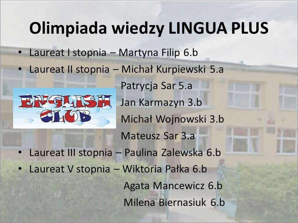 Olimpiada wiedzy LINGUA PLUS Laureat I stopnia – Martyna Filip 6.b Laureat II stopnia – Michał Kurpiewski 5.a Patrycja Sar 5.a Jan Karmazyn 3.b Michał