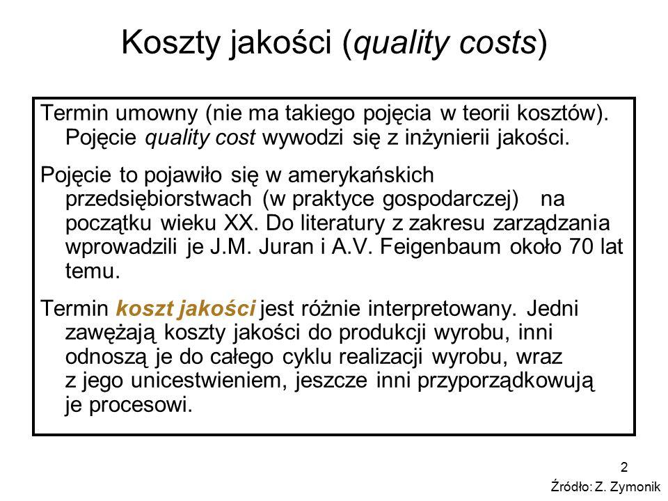 2 Koszty jakości (quality costs) Termin umowny (nie ma takiego pojęcia w teorii kosztów). Pojęcie quality cost wywodzi się z inżynierii jakości. Pojęc