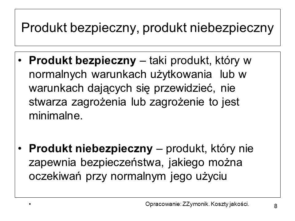Produkt bezpieczny, produkt niebezpieczny Produkt bezpieczny – taki produkt, który w normalnych warunkach użytkowania lub w warunkach dających się przewidzieć, nie stwarza zagrożenia lub zagrożenie to jest minimalne.