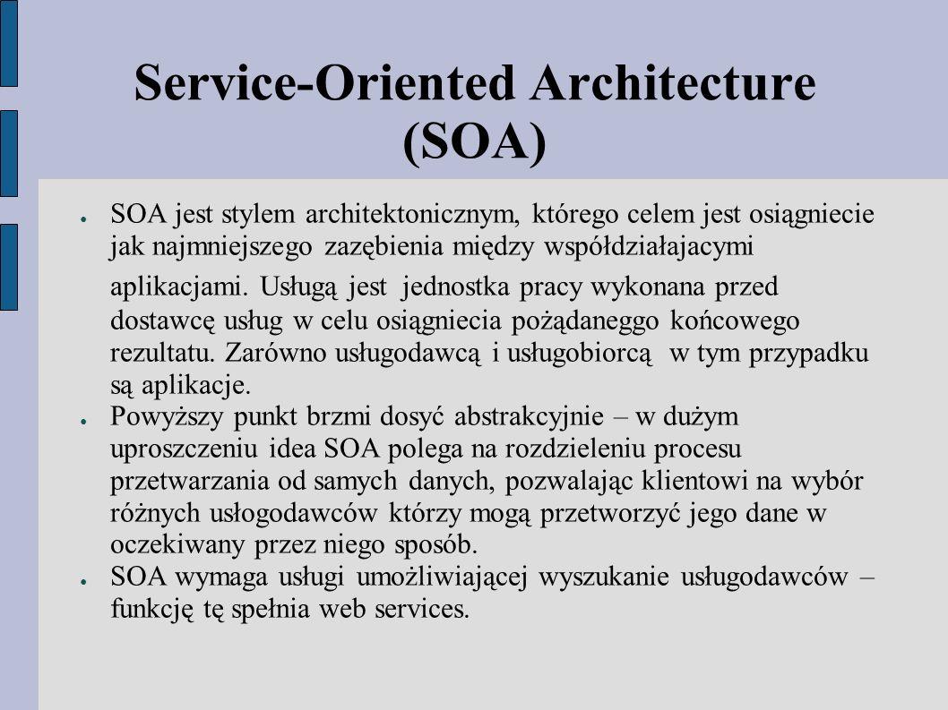 Service-Oriented Architecture (SOA) ● SOA jest stylem architektonicznym, którego celem jest osiągniecie jak najmniejszego zazębienia między współdziałajacymi aplikacjami.