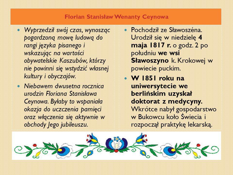 Florian Stanisław Wenanty Ceynowa Wyprzedził swój czas, wynosząc pogardzoną mowę ludową do rangi języka pisanego i wskazując na wartości obywatelskie