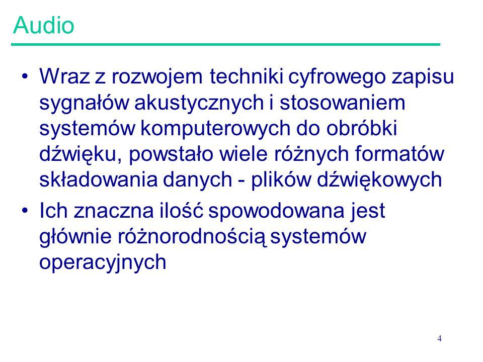 25 CCITT μ-law: USA, Kanada, Japonia Nazwy używane zamiennie: –Sun-AU file, Next sound file, mu-law, u-law Mu-law jest standardem kompresji – sposobem kodowania dźwięku opartym na częstotliwości próbkowania 8kHz Stosowane przez Sun, NeXT, Windows 95; zaprojektowany jako standard komunikacji telefonicznej Opis w CCITT (ITU) Recommendation G.711