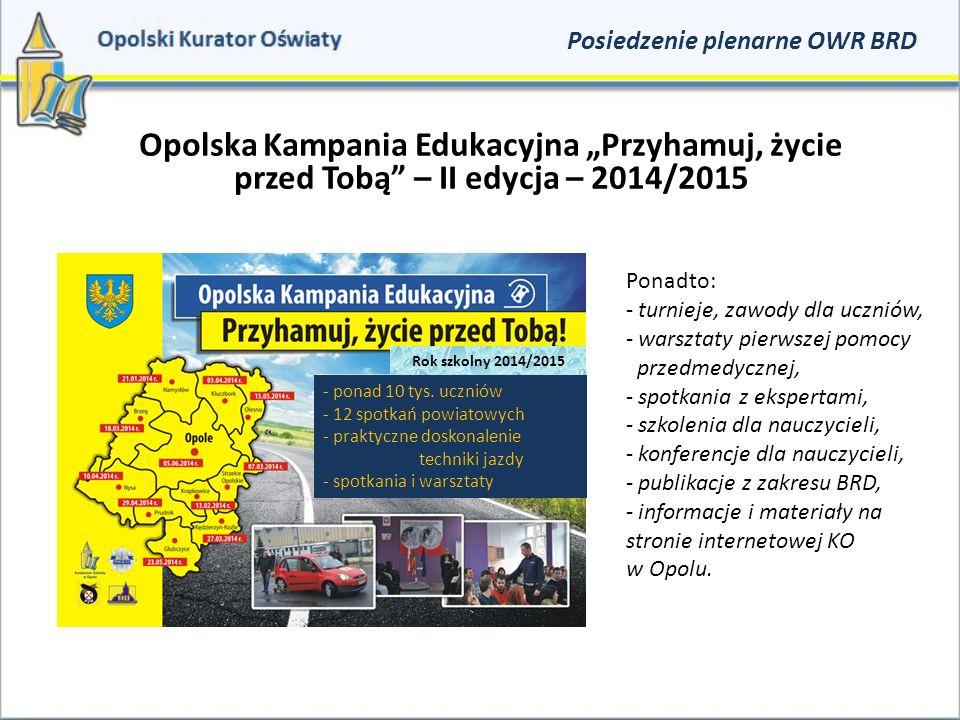 """Podsumowanie II edycji Opolskiej Kampanii Edukacyjnej """"Przyhamuj, życie przed Tobą – 12 czerwca 2015r."""