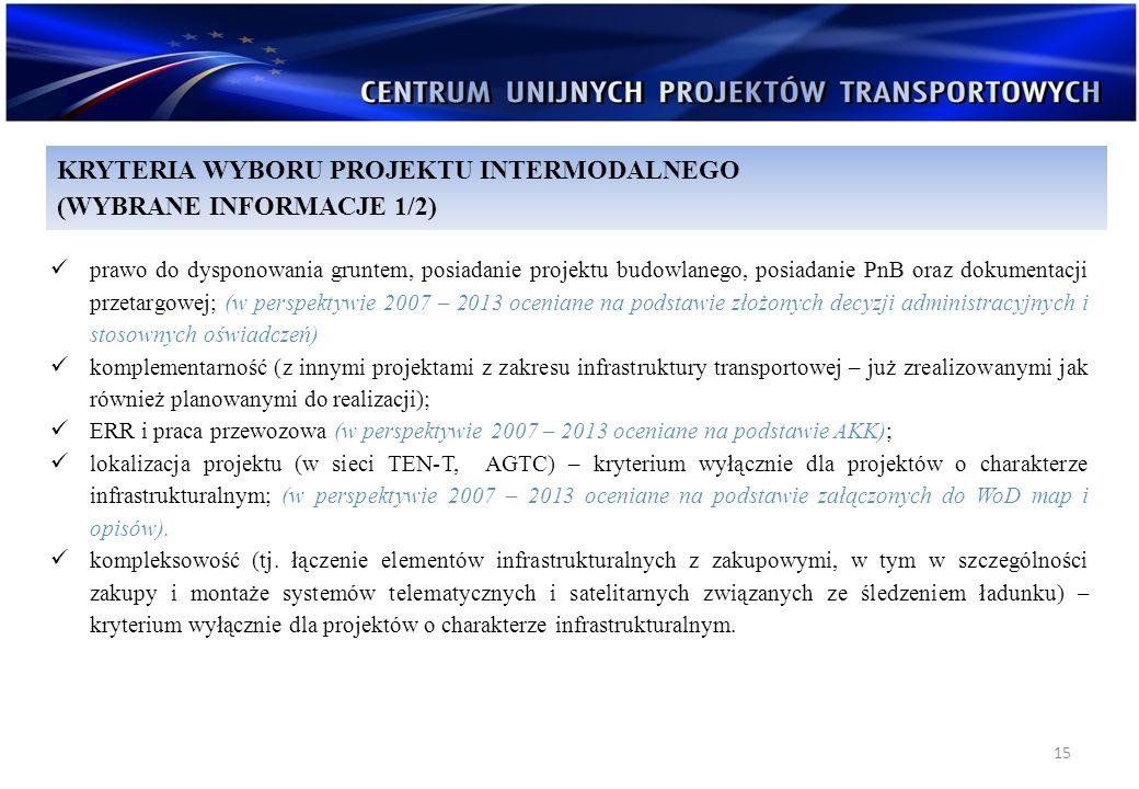 15 prawo do dysponowania gruntem, posiadanie projektu budowlanego, posiadanie PnB oraz dokumentacji przetargowej; (w perspektywie 2007 – 2013 oceniane
