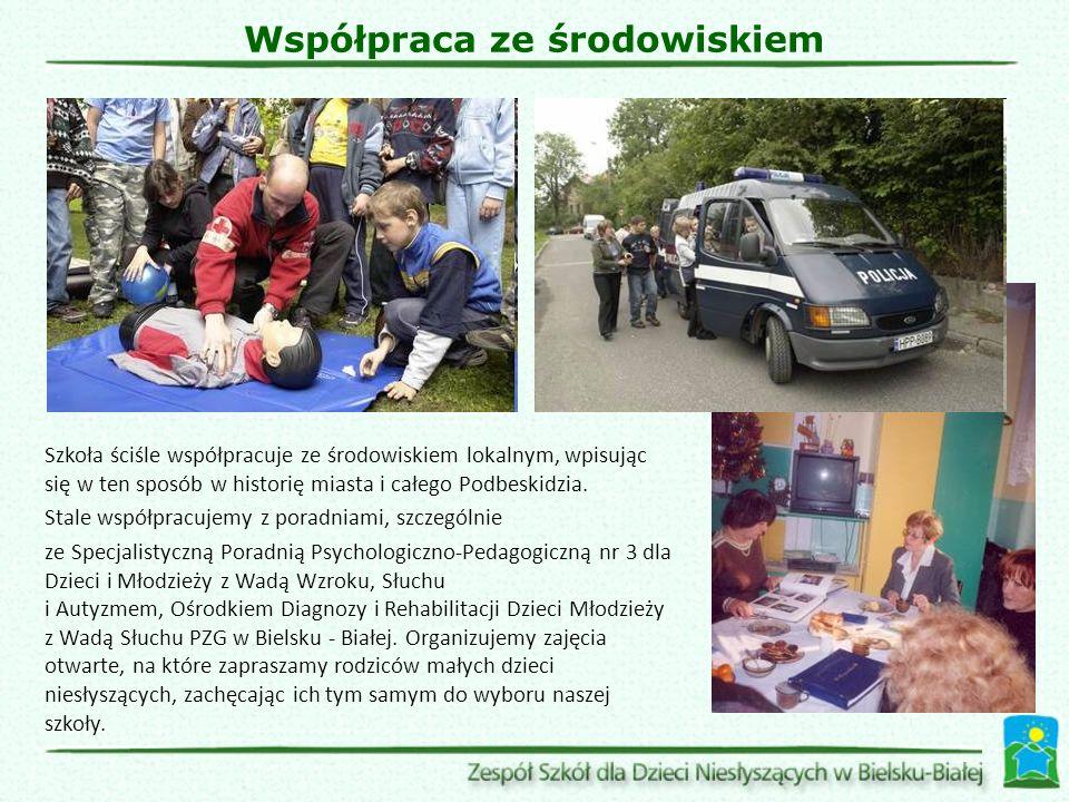 Współpraca ze środowiskiem Szkoła ściśle współpracuje ze środowiskiem lokalnym, wpisując się w ten sposób w historię miasta i całego Podbeskidzia.