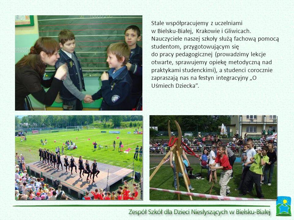 Stale współpracujemy z uczelniami w Bielsku-Białej, Krakowie i Gliwicach. Nauczyciele naszej szkoły służą fachową pomocą studentom, przygotowującym si