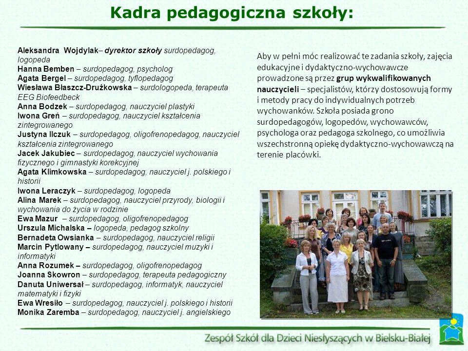 Aby w pełni móc realizować te zadania szkoły, zajęcia edukacyjne i dydaktyczno-wychowawcze prowadzone są przez grup wykwalifikowanych nauczycieli – sp