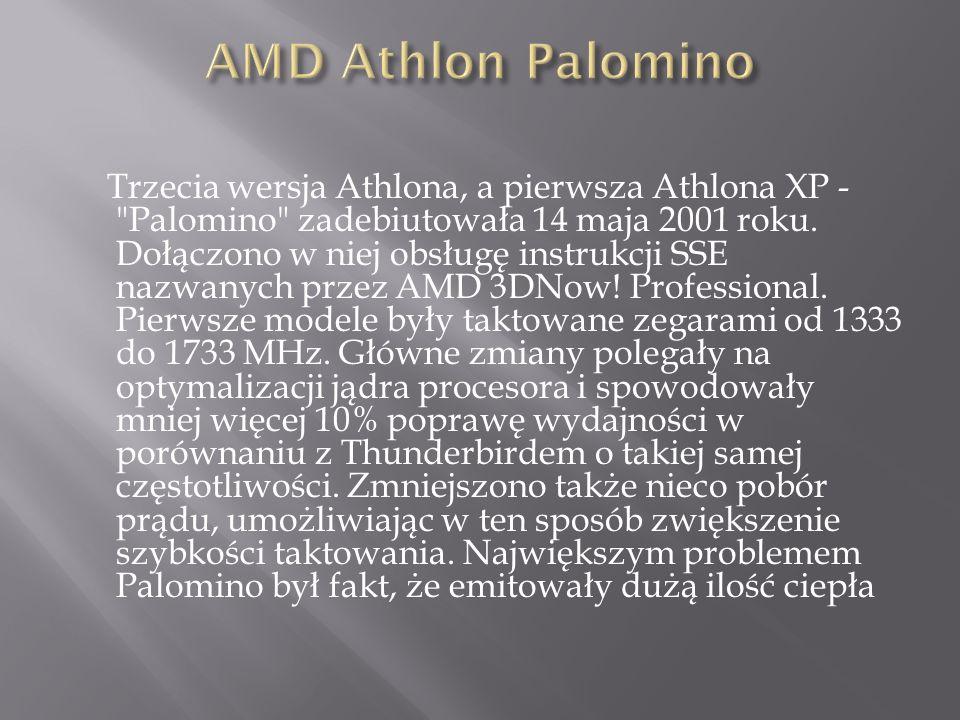 Trzecia wersja Athlona, a pierwsza Athlona XP - Palomino zadebiutowała 14 maja 2001 roku.