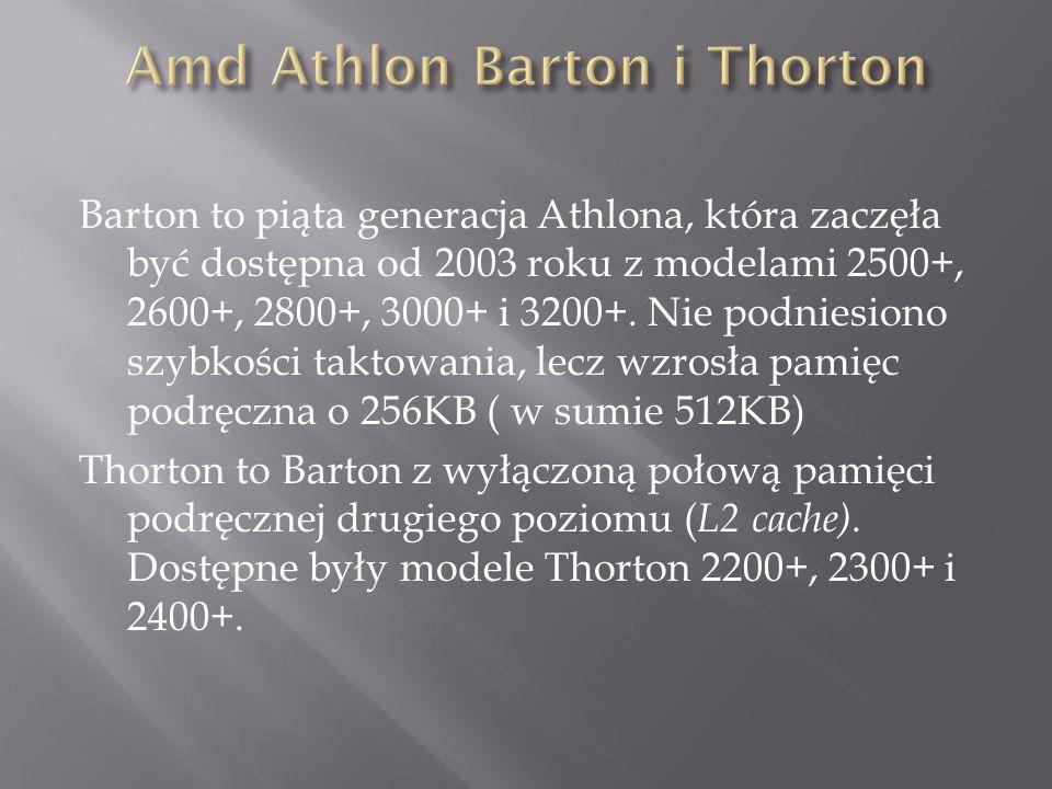 Barton to piąta generacja Athlona, która zaczęła być dostępna od 2003 roku z modelami 2500+, 2600+, 2800+, 3000+ i 3200+.
