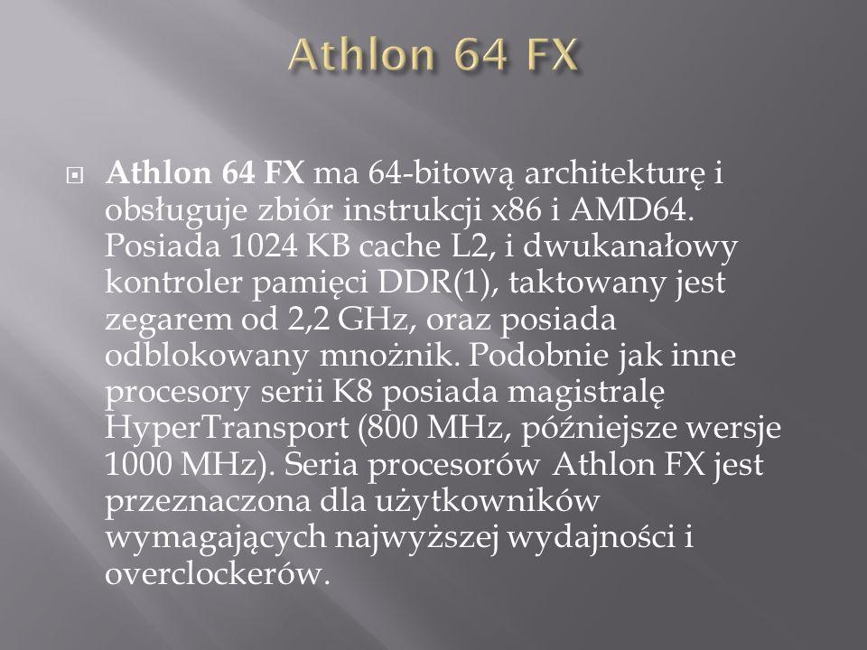  Athlon 64 FX ma 64-bitową architekturę i obsługuje zbiór instrukcji x86 i AMD64.