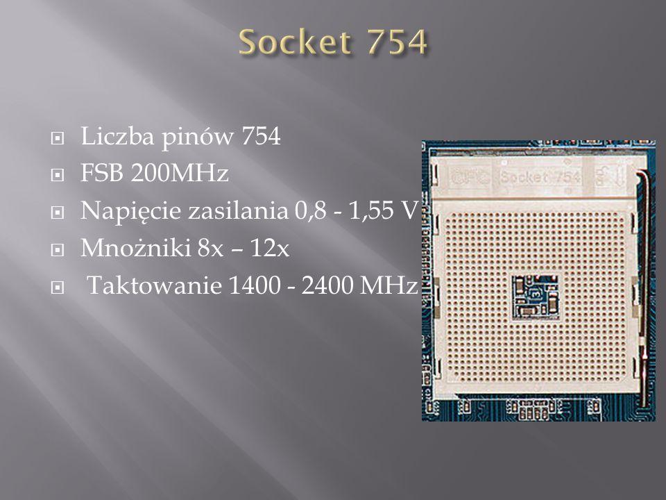  Liczba pinów 754  FSB 200MHz  Napięcie zasilania 0,8 - 1,55 V  Mnożniki 8x – 12x  Taktowanie 1400 - 2400 MHz
