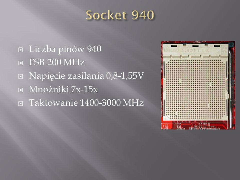  Liczba pinów 940  FSB 200 MHz  Napięcie zasilania 0,8-1,55V  Mnożniki 7x-15x  Taktowanie 1400-3000 MHz