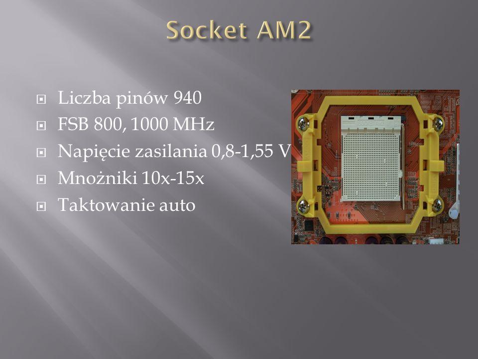  Liczba pinów 940  FSB 800, 1000 MHz  Napięcie zasilania 0,8-1,55 V  Mnożniki 10x-15x  Taktowanie auto