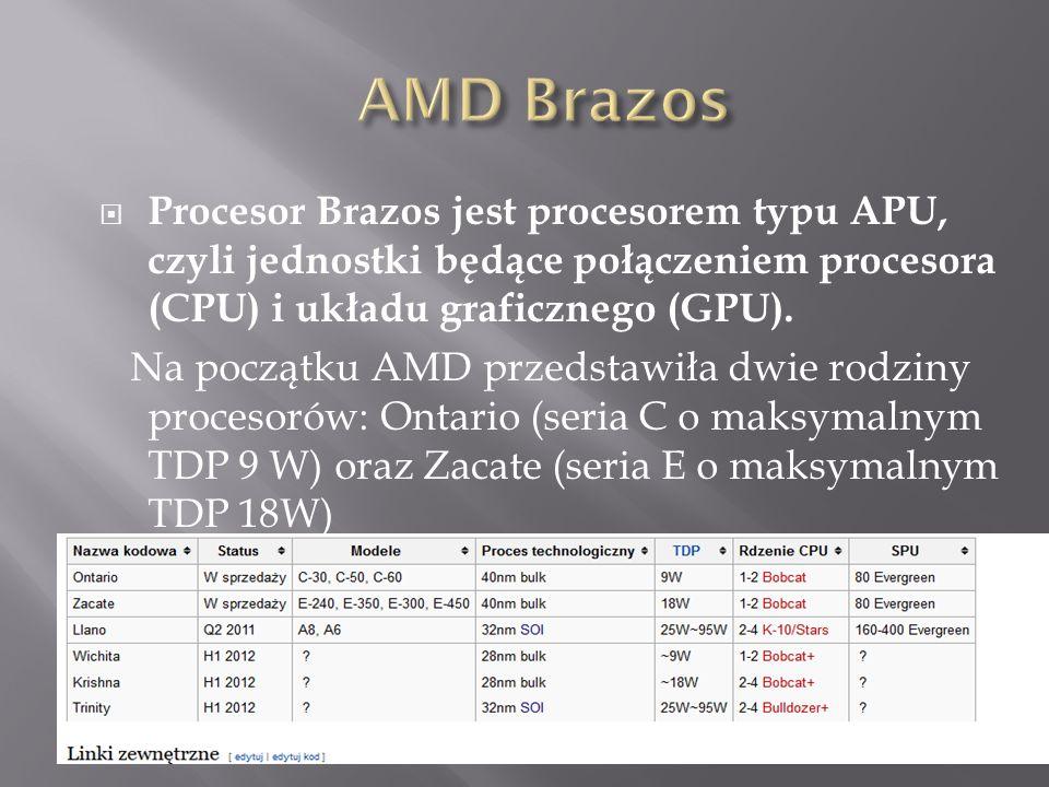  Procesor Brazos jest procesorem typu APU, czyli jednostki będące połączeniem procesora (CPU) i układu graficznego (GPU).