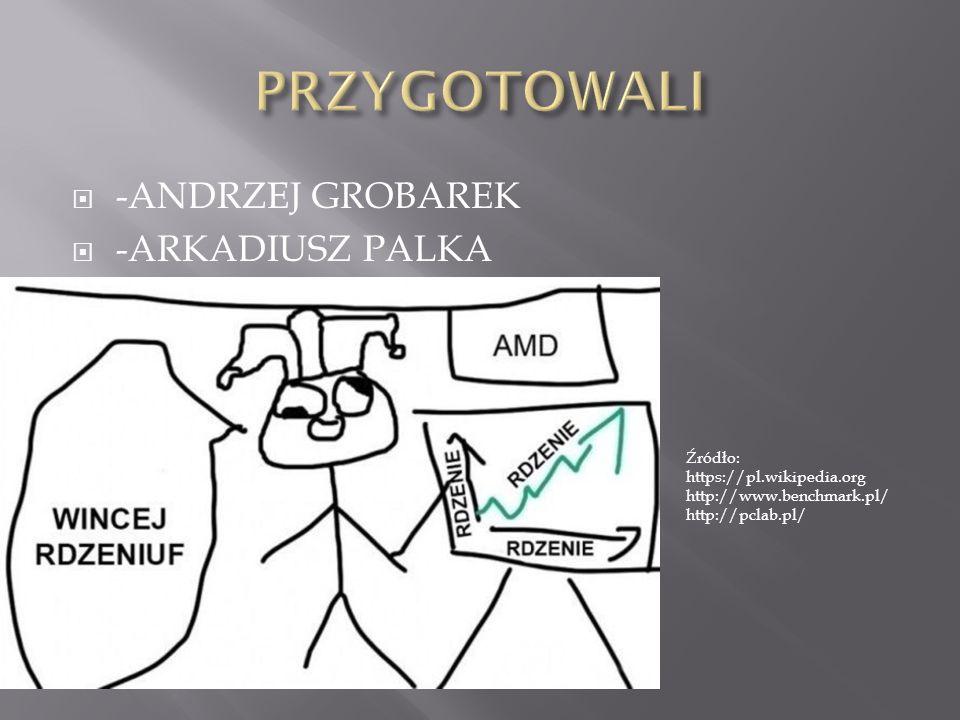  -ANDRZEJ GROBAREK  -ARKADIUSZ PALKA Źródło: https://pl.wikipedia.org http://www.benchmark.pl/ http://pclab.pl/