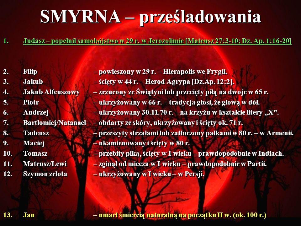 SMYRNA – prześladowania 1.Judasz – popełnił samobójstwo w 29 r.