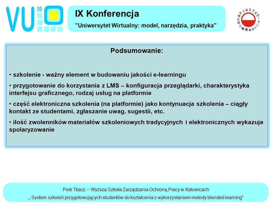 """Piotr Tkacz – Wyższa Szkoła Zarządzania Ochroną Pracy w Katowicach """" System szkoleń przygotowujących studentów do kształcenia z wykorzystaniem metody blended learning Podsumowanie: szkolenie - ważny element w budowaniu jakości e-learningu przygotowanie do korzystania z LMS – konfiguracja przeglądarki, charakterystyka interfejsu graficznego, rodzaj usług na platformie część elektroniczna szkolenia (na platformie) jako kontynuacja szkolenia – ciągły kontakt ze studentami, zgłaszanie uwag, sugestii, etc."""