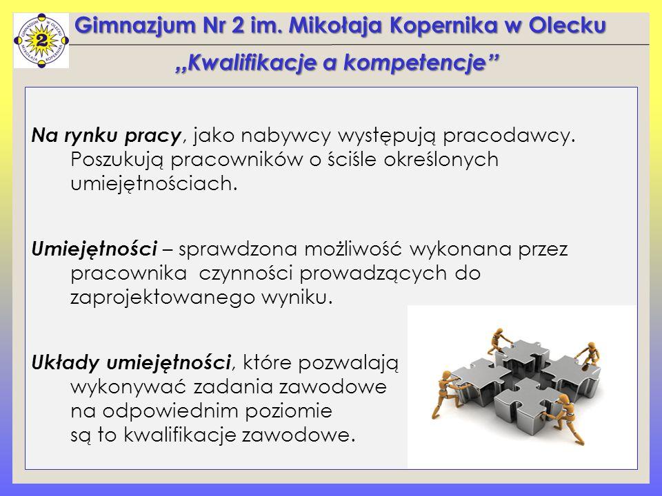 Gimnazjum Nr 2 im.Mikołaja Kopernika w Olecku Na rynku pracy, jako nabywcy występują pracodawcy.
