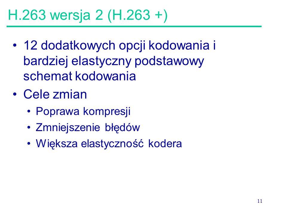 11 H.263 wersja 2 (H.263 +) 12 dodatkowych opcji kodowania i bardziej elastyczny podstawowy schemat kodowania Cele zmian Poprawa kompresji Zmniejszenie błędów Większa elastyczność kodera