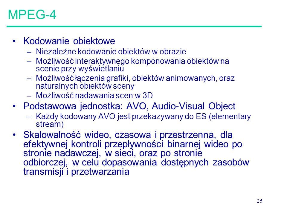 25 MPEG-4 Kodowanie obiektowe –Niezależne kodowanie obiektów w obrazie –Możliwość interaktywnego komponowania obiektów na scenie przy wyświetlaniu –Możliwość łączenia grafiki, obiektów animowanych, oraz naturalnych obiektów sceny –Możliwość nadawania scen w 3D Podstawowa jednostka: AVO, Audio-Visual Object –Każdy kodowany AVO jest przekazywany do ES (elementary stream) Skalowalność wideo, czasowa i przestrzenna, dla efektywnej kontroli przepływności binarnej wideo po stronie nadawczej, w sieci, oraz po stronie odbiorczej, w celu dopasowania dostępnych zasobów transmisji i przetwarzania