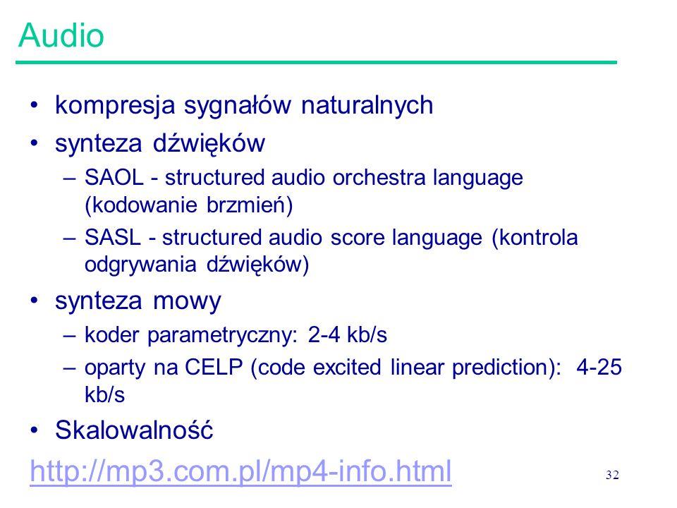 32 Audio kompresja sygnałów naturalnych synteza dźwięków –SAOL - structured audio orchestra language (kodowanie brzmień) –SASL - structured audio score language (kontrola odgrywania dźwięków) synteza mowy –koder parametryczny: 2-4 kb/s –oparty na CELP (code excited linear prediction): 4-25 kb/s Skalowalność http://mp3.com.pl/mp4-info.html