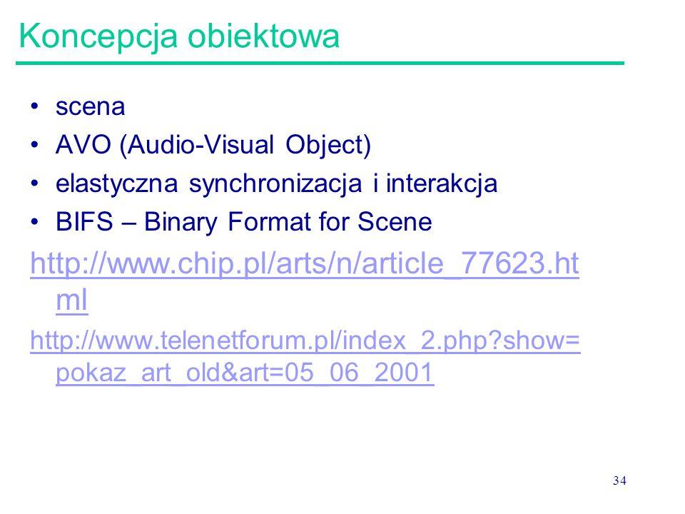 34 Koncepcja obiektowa scena AVO (Audio-Visual Object) elastyczna synchronizacja i interakcja BIFS – Binary Format for Scene http://www.chip.pl/arts/n/article_77623.ht ml http://www.telenetforum.pl/index_2.php?show= pokaz_art_old&art=05_06_2001