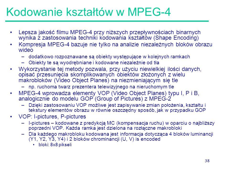 38 Kodowanie kształtów w MPEG-4 Lepsza jakość filmu MPEG-4 przy niższych przepływnościach binarnych wynika z zastosowania techniki kodowania kształtów (Shape Encoding) Kompresja MPEG-4 bazuje nie tylko na analizie niezależnych bloków obrazu wideo –dodatkowo rozpoznawane są obiekty występujące w kolejnych ramkach –Obiekty te są wyodrębniane i kodowane niezależnie od tła Wykorzystanie tej metody pozwala, przy użyciu niewielkiej ilości danych, opisać przesunięcia skomplikowanych obiektów złożonych z wielu makrobloków (Video Object Planes) na niezmieniającym się tle –np.