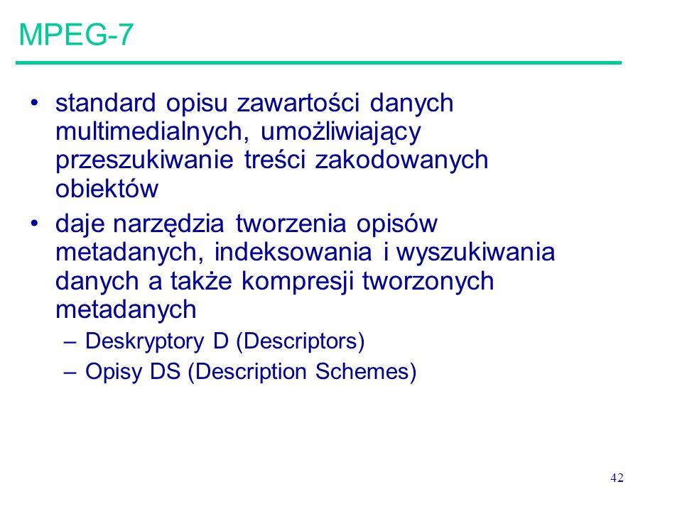 42 MPEG-7 standard opisu zawartości danych multimedialnych, umożliwiający przeszukiwanie treści zakodowanych obiektów daje narzędzia tworzenia opisów metadanych, indeksowania i wyszukiwania danych a także kompresji tworzonych metadanych –Deskryptory D (Descriptors) –Opisy DS (Description Schemes)