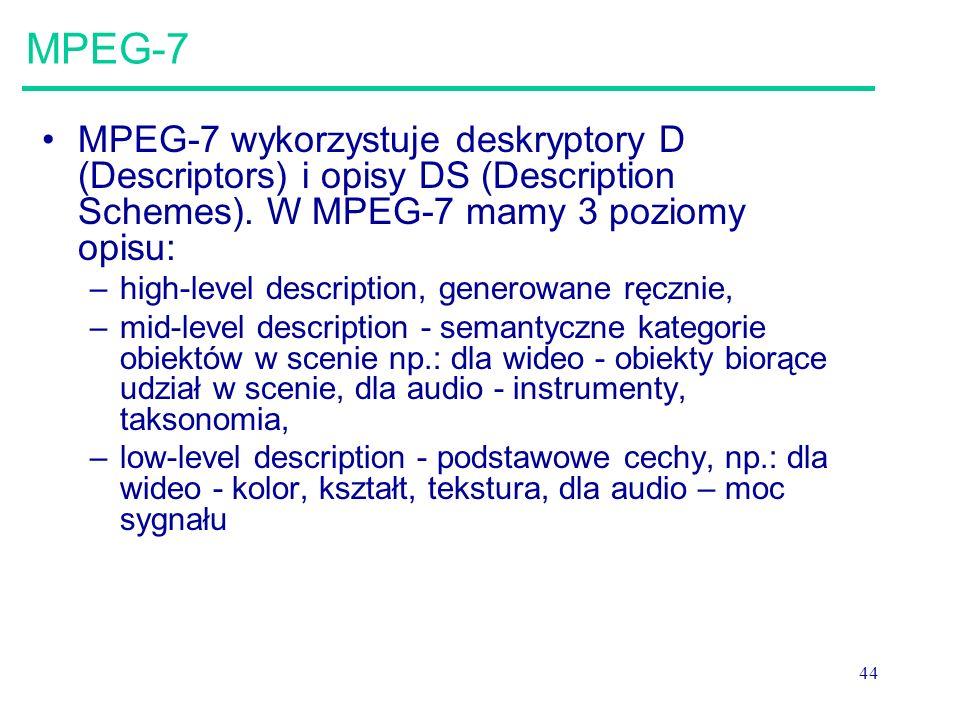 44 MPEG-7 MPEG-7 wykorzystuje deskryptory D (Descriptors) i opisy DS (Description Schemes).