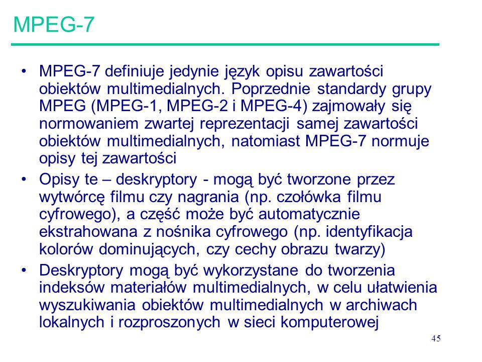 45 MPEG-7 MPEG-7 definiuje jedynie język opisu zawartości obiektów multimedialnych.