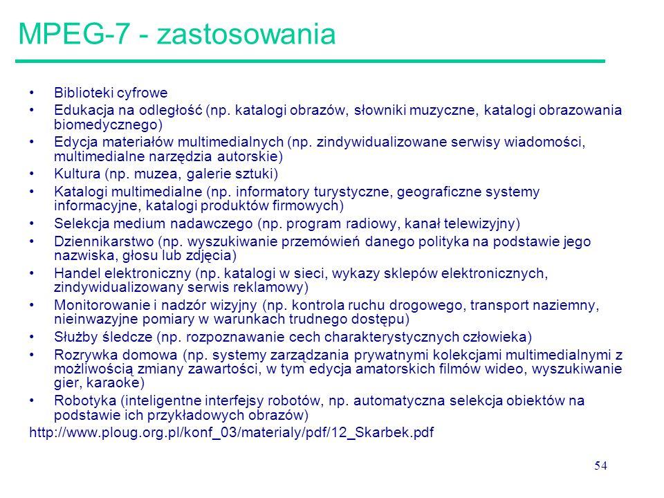 54 MPEG-7 - zastosowania Biblioteki cyfrowe Edukacja na odległość (np.