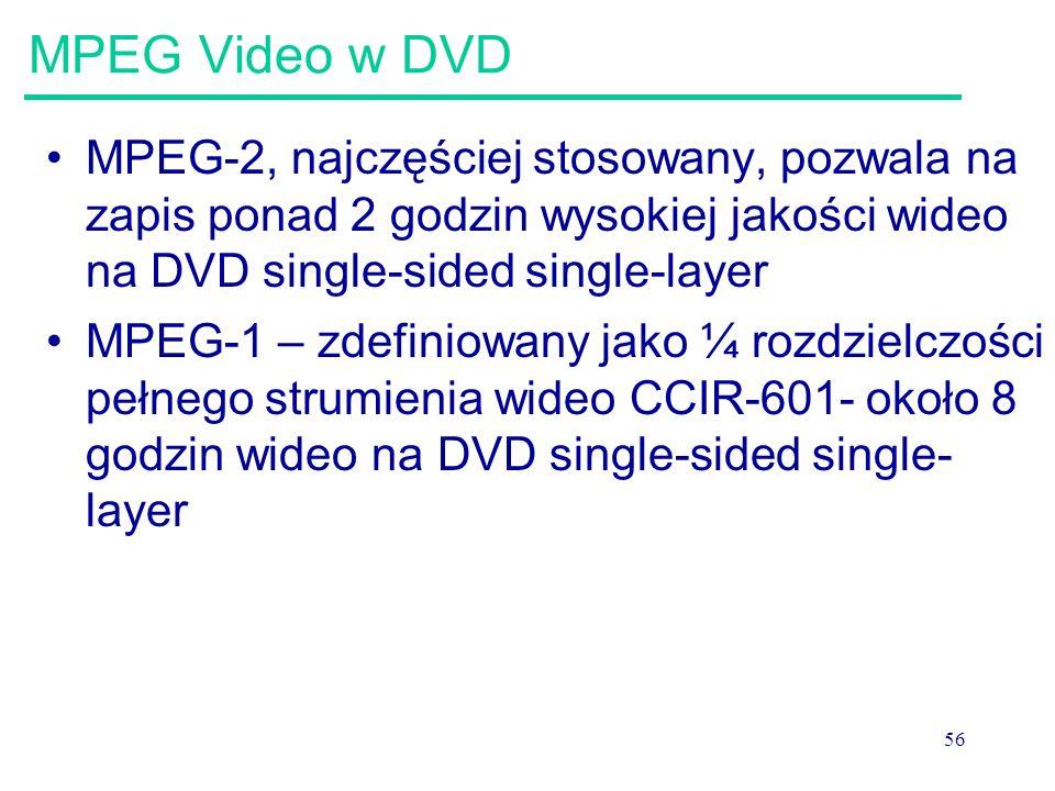 56 MPEG Video w DVD MPEG-2, najczęściej stosowany, pozwala na zapis ponad 2 godzin wysokiej jakości wideo na DVD single-sided single-layer MPEG-1 – zdefiniowany jako ¼ rozdzielczości pełnego strumienia wideo CCIR-601- około 8 godzin wideo na DVD single-sided single- layer