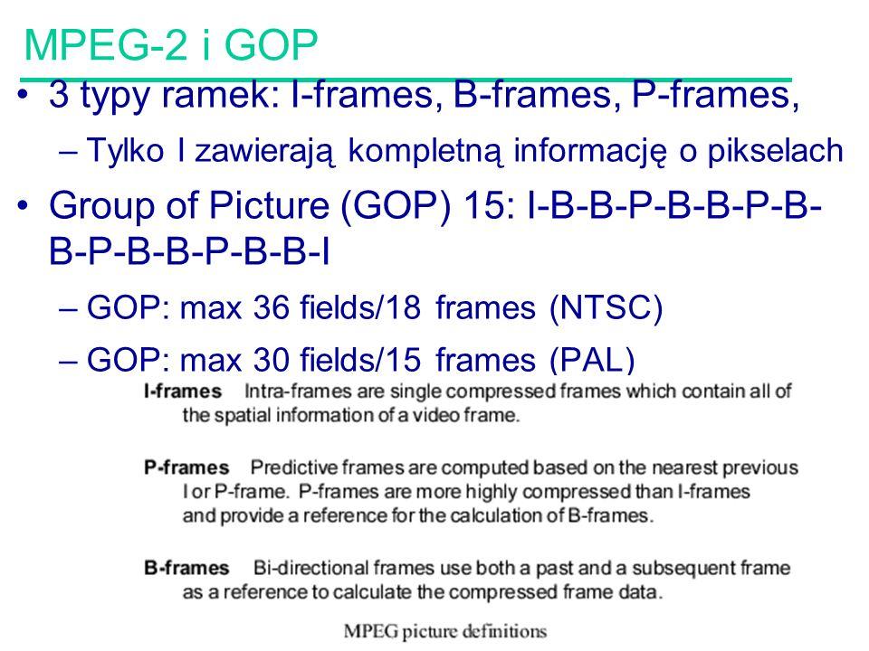 59 MPEG-2 i GOP 3 typy ramek: I-frames, B-frames, P-frames, –Tylko I zawierają kompletną informację o pikselach Group of Picture (GOP) 15: I-B-B-P-B-B-P-B- B-P-B-B-P-B-B-I –GOP: max 36 fields/18 frames (NTSC) –GOP: max 30 fields/15 frames (PAL)