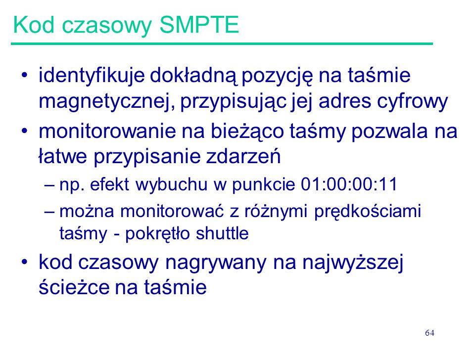 64 Kod czasowy SMPTE identyfikuje dokładną pozycję na taśmie magnetycznej, przypisując jej adres cyfrowy monitorowanie na bieżąco taśmy pozwala na łatwe przypisanie zdarzeń –np.