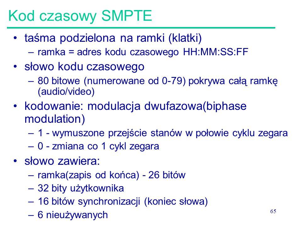 65 Kod czasowy SMPTE taśma podzielona na ramki (klatki) –ramka = adres kodu czasowego HH:MM:SS:FF słowo kodu czasowego –80 bitowe (numerowane od 0-79) pokrywa całą ramkę (audio/video) kodowanie: modulacja dwufazowa(biphase modulation) –1 - wymuszone przejście stanów w połowie cyklu zegara –0 - zmiana co 1 cykl zegara słowo zawiera: –ramka(zapis od końca) - 26 bitów –32 bity użytkownika –16 bitów synchronizacji (koniec słowa) –6 nieużywanych
