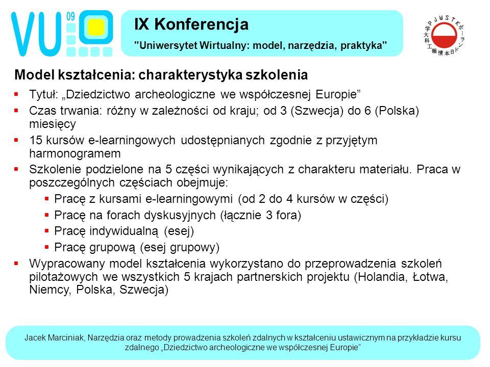 """Jacek Marciniak, Narzędzia oraz metody prowadzenia szkoleń zdalnych w kształceniu ustawicznym na przykładzie kursu zdalnego """"Dziedzictwo archeologiczne we współczesnej Europie Narzędzia: multimedialne i interaktywne kursy e-learning (1) IX Konferencja Uniwersytet Wirtualny: model, narzędzia, praktyka  Kurs e-learning (inaczej: kurs WBT, elektroniczna książka, """"content ):  Treść dydaktyczna w postaci multimedialnej i interaktywnej gotowa do publikowania w systemie do zdalnego kształcenia klasy LMS  Zawiera elementy multimedialne i interaktywne zwiększające atrakcyjność przekazywanych treści oraz skuteczność kształcenia  Posiada strukturę hierarchiczną dostosowaną do kształcenia w środowisku internetu - podział treści na jednostki uczące (learning objects)  Zapisany w popularnym standardzie reprezentacji zawartości dydaktycznej (SCORM)  Na potrzeby szkolenia wytworzono 15 kursów e-learningowych w 4 wersjach językowych (angielski, polski, łotewski, niemiecki) zapisanych w standardzie SCORM 1.2"""