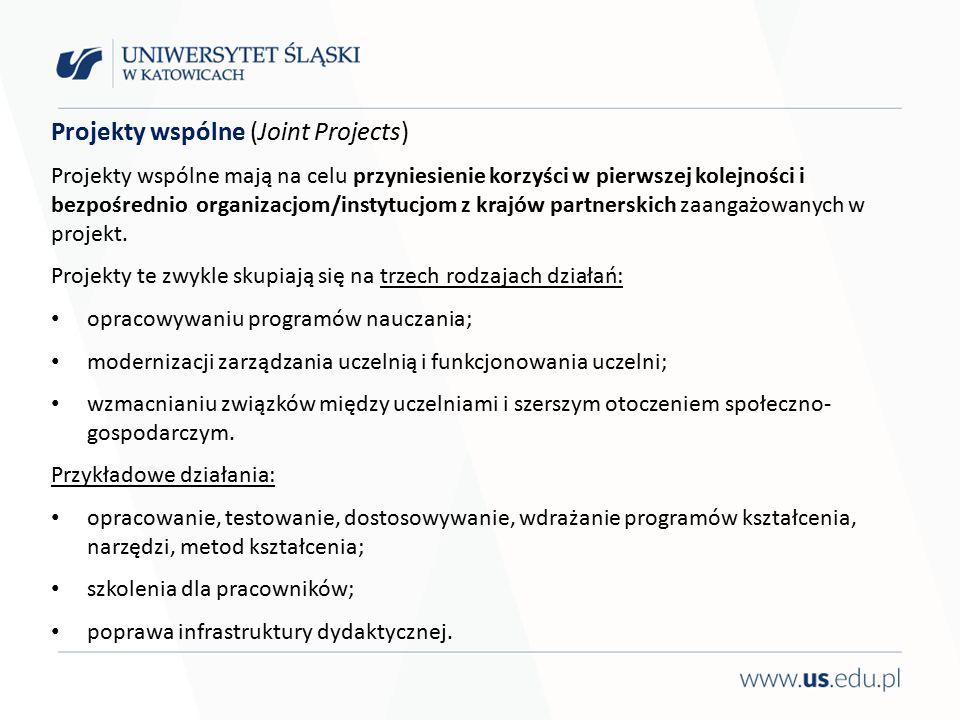 Projekty wspólne (Joint Projects) Projekty wspólne mają na celu przyniesienie korzyści w pierwszej kolejności i bezpośrednio organizacjom/instytucjom z krajów partnerskich zaangażowanych w projekt.