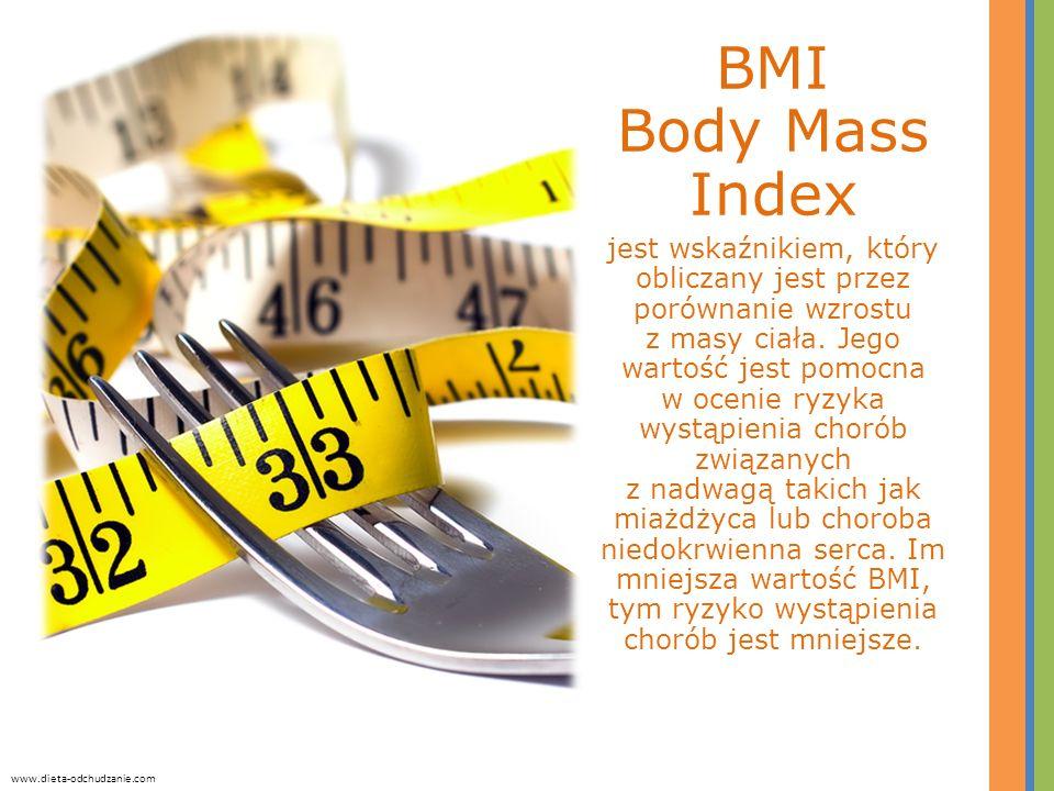 BMI Body Mass Index jest wskaźnikiem, który obliczany jest przez porównanie wzrostu z masy ciała. Jego wartość jest pomocna w ocenie ryzyka wystąpieni