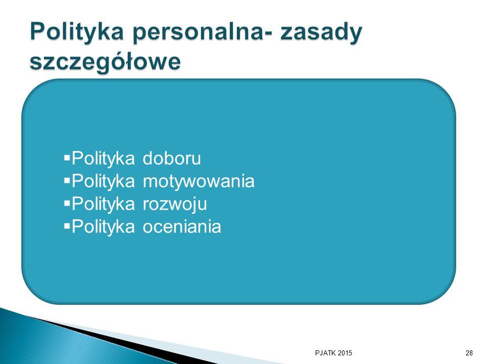  Polityka doboru  Polityka motywowania  Polityka rozwoju  Polityka oceniania PJATK 201528