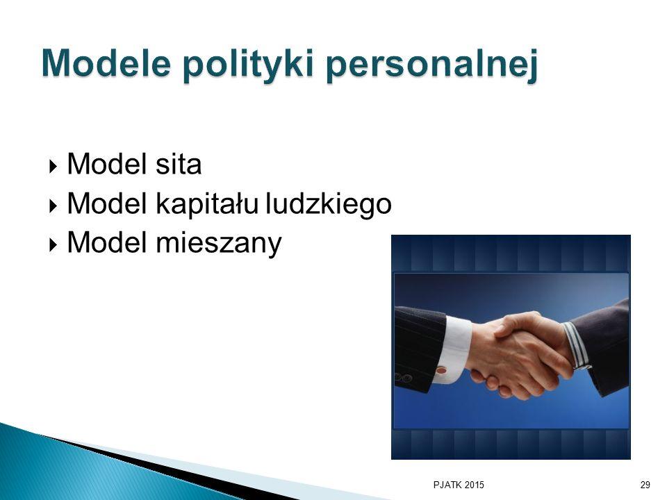  Model sita  Model kapitału ludzkiego  Model mieszany PJATK 201529