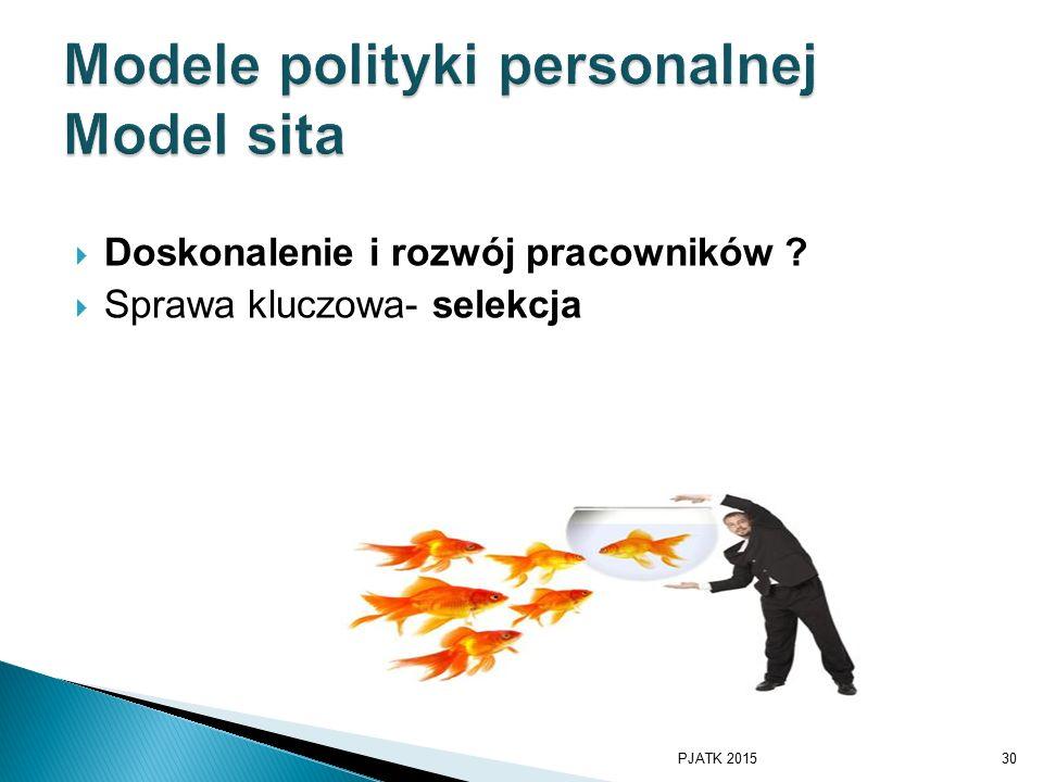  Doskonalenie i rozwój pracowników ?  Sprawa kluczowa- selekcja PJATK 201530