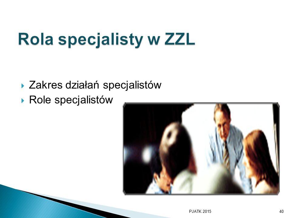  Zakres działań specjalistów  Role specjalistów PJATK 201540
