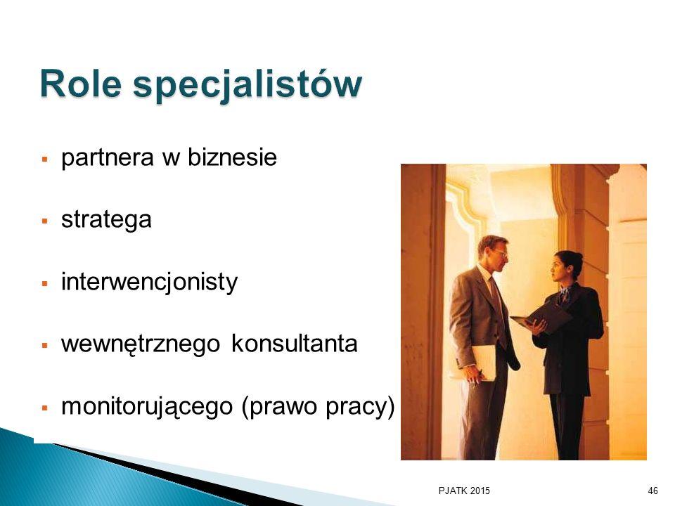  partnera w biznesie  stratega  interwencjonisty  wewnętrznego konsultanta  monitorującego (prawo pracy) PJATK 201546